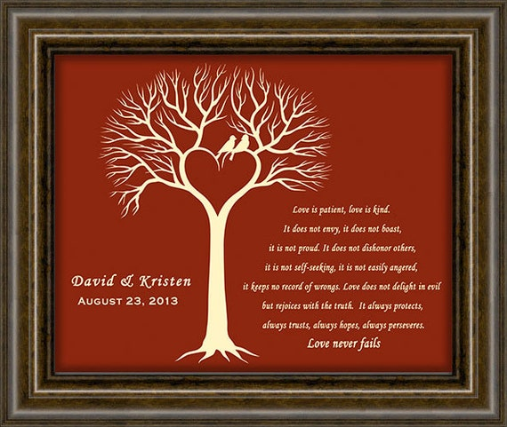 40th Wedding Anniversary Gift Ideas For Parents Australia : ... Ruby Anniversary Gift - Wedding Tree Print - 40th Anniversary Gift