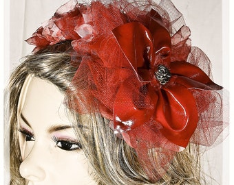 Red Pvc FLOWER HAIR ACCESSORIES, with rouches in Organza and  Chiffon,