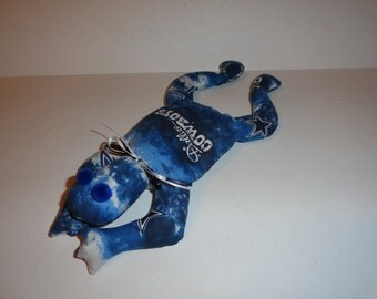 Hand Made Dallas Cowboys NFL Football Bean Bag Frog