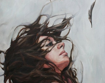 SOLD, original Oil Painting, feathers, wind, hair