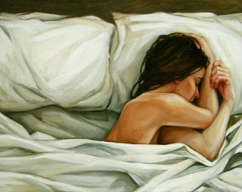 Original Figurative Oil Painting, sleep, pillows