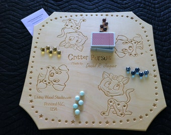 Critter Pursuit A New Card & Marble Wooden 2 or 4 player Board Game inspired by Peg - Joker