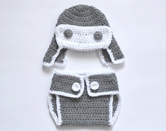 Baby Set, Baby Boy Set, Crochet Baby Boy Set, Gray Aviator Baby Hat and Diaper Cover Set, Newborn Photo Prop, Baby Boy Outfit