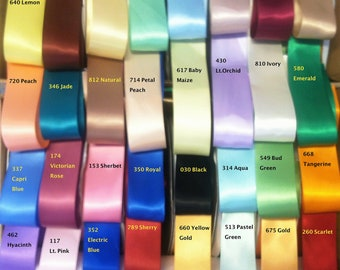 "1.5"" Double Face Satin- 1 yard. U Choose in 32 colors"