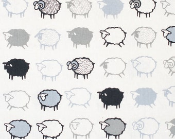Baa Baa Black Sheep Japanese Cotton Linen Fabric - Black and White - Kiyohara Japanese Fabric - HALF YD
