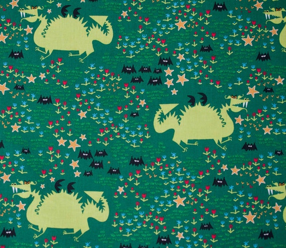 Dragon fabric ed emberley happy drawing cloud 9 organic for Dragon fabric kids