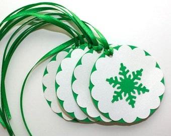 Snowflake Gift Tags, Set of 6 Handmade Tags, White and Green Christmas Tags, Holiday Tags, Snowflake Favor Tags, Christmas, Winter
