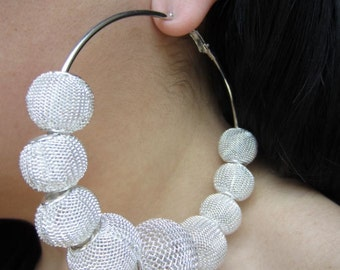 "Silver 3"" Mesh Ball Hoop Earrings similar to those seen on Basketball wives"