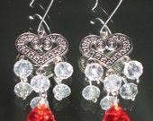 SALE 10% Off Teardrop Red White glass crystal chandelier heart silver tone metal earrings silver jewelry gift