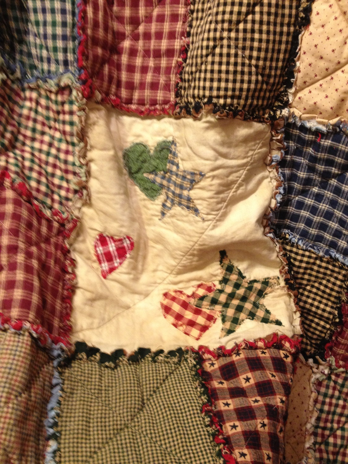 Homespun And Cotton Rag Quilt Large Throw Size Flannel Backed