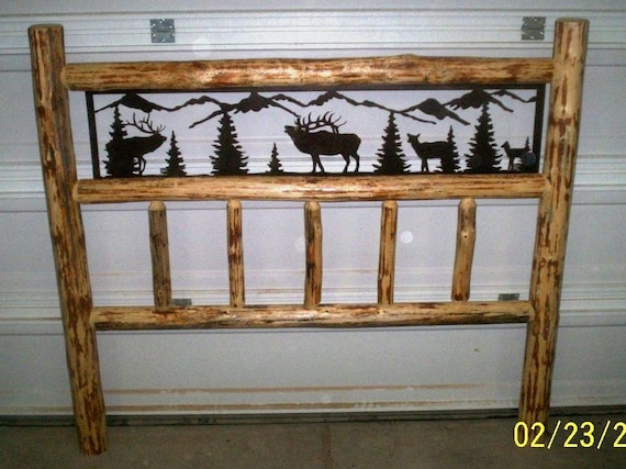 King size rustic iron style pine log bed by for Free log bed plans