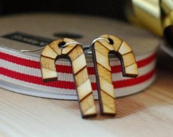 Candy Cane Earrings - Laser cut wooden earrings - Christmas earrings