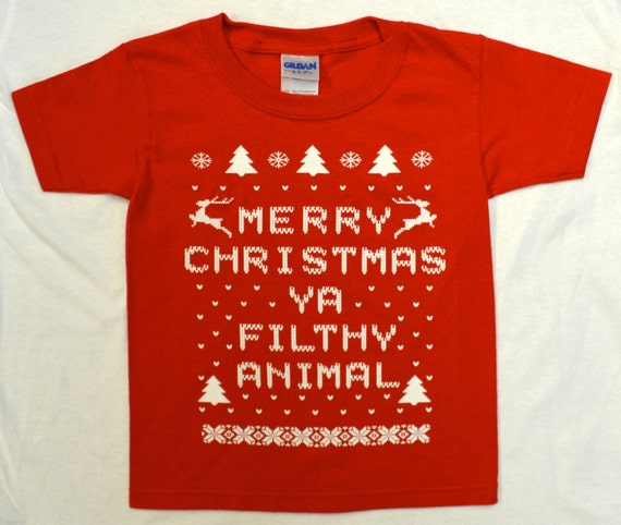 "Toddler ""Ugly Christmas Sweater"" Kids T-shirt:  RED Merry Christmas ya Filthy Animal Tee - Sizes - 2, 3, 4, 5/6 & 7"