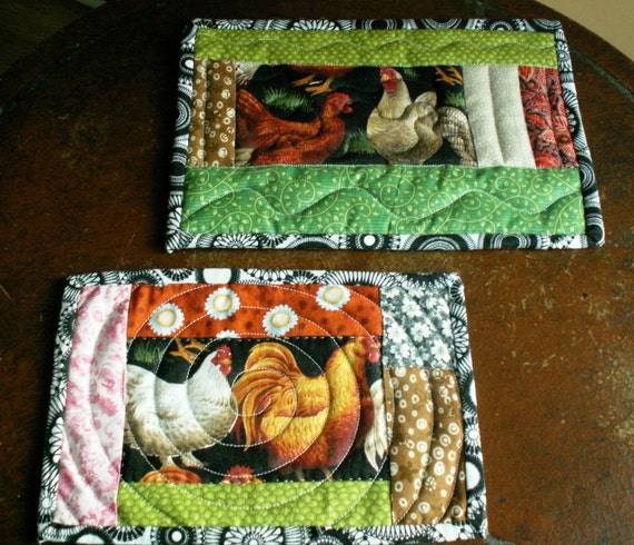 Chicken Mug Rug Set Mug Rug Set Quilted By