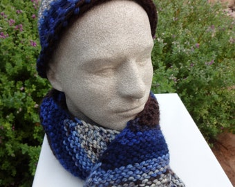 NOW ON SALE 2 Piece hand knitted scarf and hat set- ready to ship
