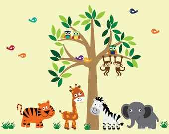 REUSABLE Wall Decal Childrens Jungle Wall Decal B102