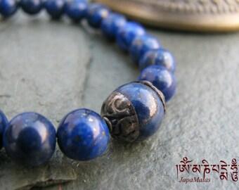 Lapis lazuli Bracelet Mala with capped lapis guru bead purified & blessed mala
