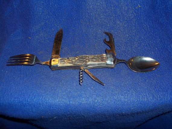 Real Old Vintage Swiss Army Knife Spoon Fork Scissors Leather