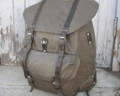 Vintage Swiss military rucksack backpack rubberized canvas construction