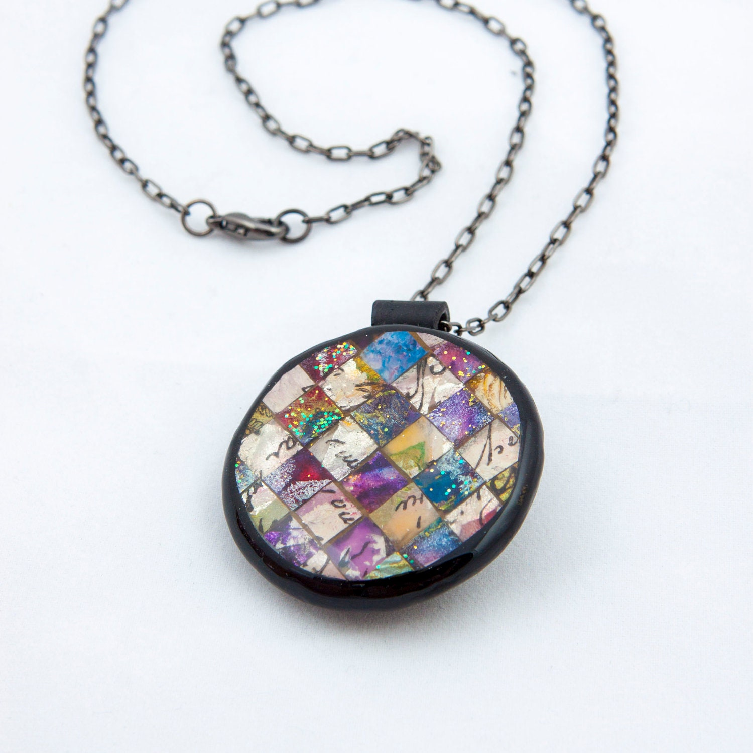 mosaic necklace colorful in shades of blue purple pearl