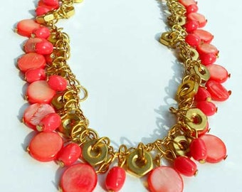 Coral and Brass Necklace