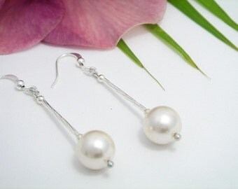 White Pearl Earrings - Long dangle Pearl Earrings - Bridal Jewelry - Round Pearl Earrings - June birthstone - white earrings