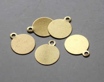 100pcs Raw Brass Round Charms,Stamping Tags Findings 12mm - F122