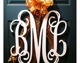 "34"" Inch Wooden Monogram, Vine Connected 3 letters monogram, PAINTED Wedding Decor, Door wreath"