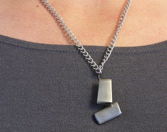 Repurposed Stainless Steel Necklace wih Pendant