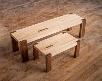 Maple and Walnut Block Bench Step Stool, Contemporary Mission Style