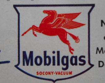 1954 Mobil AD MOBILGAS Double Powered Gasoline original advertisement