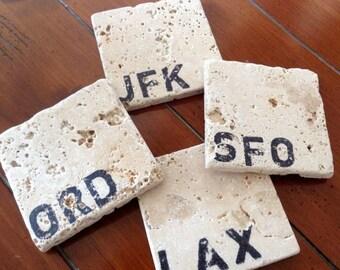 Natural Stone Coaster Set - Traveler Airport Code Edition