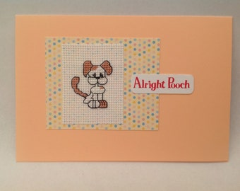 Dog cross stitch original handmade card