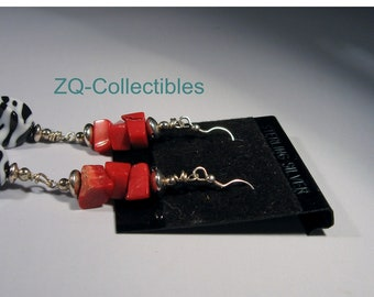 Zebra and Genuine Red Coral Dangling Earrings