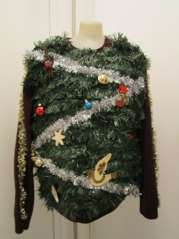 Hilarious ugly christmas tree sweater tons of green garland and ...