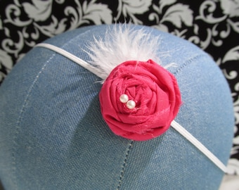Small Hot Pink Rosette Fabric Flower Headband