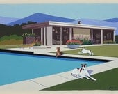 Mid Century Modern Eames Retro Limited Edition Print from Original Painting Architecture Pool Greyhounds