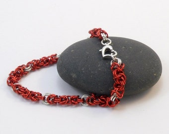 Red Enameled Bracelet - Byzantine Weave