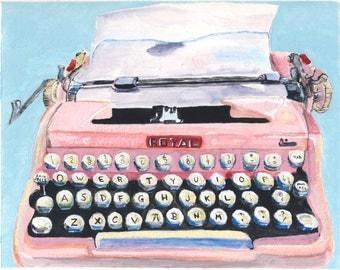 """Pink Typewriter 8 1/4 x 10.5"""""""