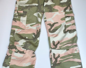 Womens Camo Vintage Paratrooper Pants - Subdued Pink -  Embellished w/ High Quality Crystals