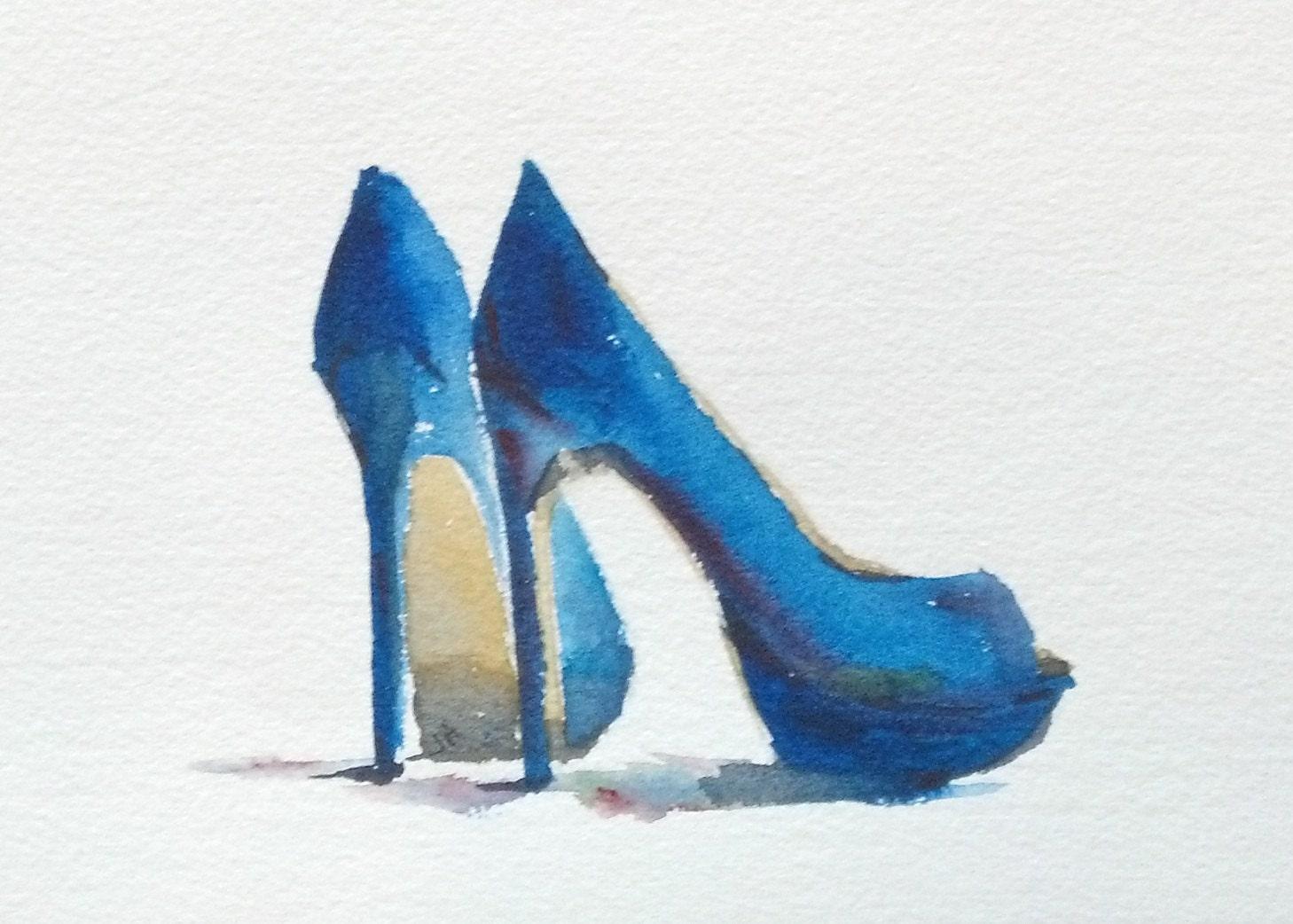 Still Life blue high heels fashion art by LittleBitsofColor