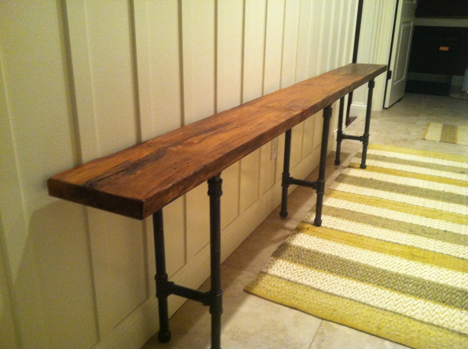 Items Similar To Black Iron Pipe Reclaimed Wood Bench On Etsy