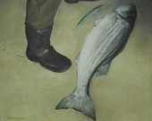 Original oil painting/seacape - 'Night Catch'- 24x30 - Striped Bass Fishing