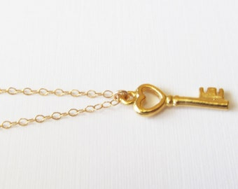 14kt Gold Key Necklace, Gold Filled Necklace Gift for Her