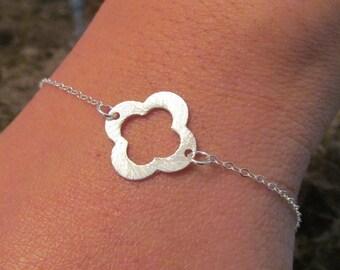 Sterling Silver Clover Bracelet, Sterling Silver Bracelet, Gift for her