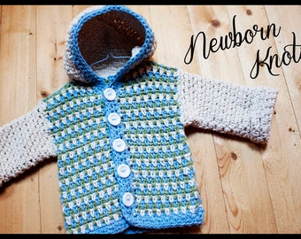 CROCHET PATTERN For Baby Boy or Girl Sweater with Hoodie. Pattern number 003. Instant Download