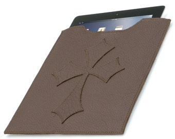Leather iPad Cover - Brown Flared Cross