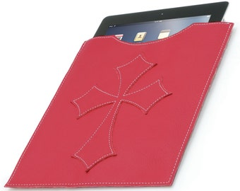 Leather iPad Cover - Red Flared Cross