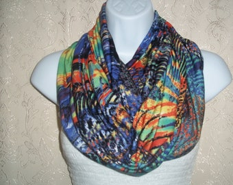 Cotton scarf infinity scarf circle scarf loop scarf tube scarf for women multi feather fabric Jersey Showl # 61