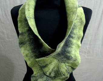 Sale - felted scarf -Twisted Seaweed - OOAK - wearable art